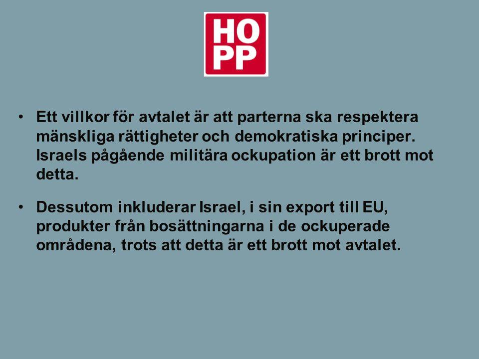 -Uppmanar Sveriges regering och riksdag att verka för att produkter från de israeliska bosättningarna på ockuperat område inte når Sverige och EU.
