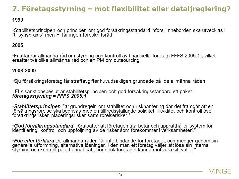 7. Företagsstyrning – mot flexibilitet eller detaljreglering? 1999 Stabilitetsprincipen och principen om god försäkringsstandard införs. Innebörden sk