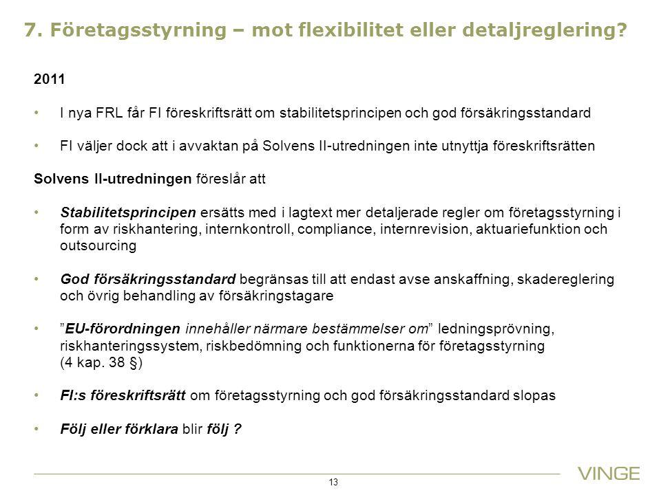 7. Företagsstyrning – mot flexibilitet eller detaljreglering? 2011 I nya FRL får FI föreskriftsrätt om stabilitetsprincipen och god försäkringsstandar