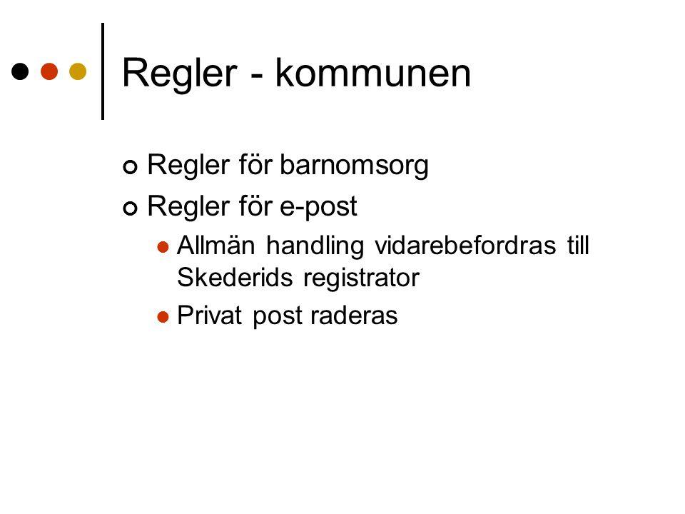 Regler - kommunen Regler för barnomsorg Regler för e-post Allmän handling vidarebefordras till Skederids registrator Privat post raderas