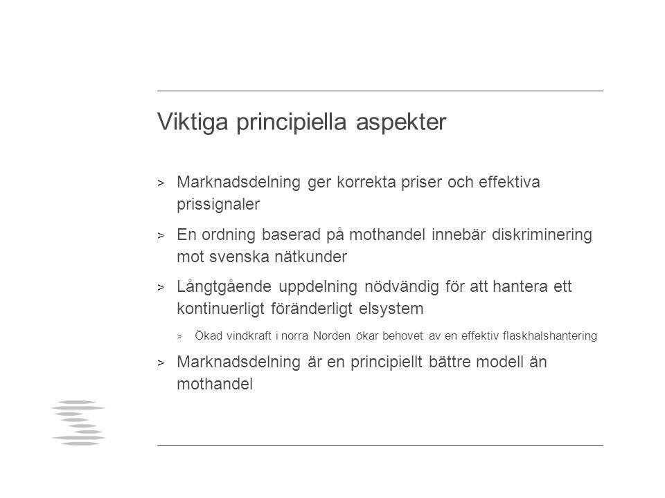 Viktiga principiella aspekter > Marknadsdelning ger korrekta priser och effektiva prissignaler > En ordning baserad på mothandel innebär diskriminering mot svenska nätkunder > Långtgående uppdelning nödvändig för att hantera ett kontinuerligt föränderligt elsystem > Ökad vindkraft i norra Norden ökar behovet av en effektiv flaskhalshantering > Marknadsdelning är en principiellt bättre modell än mothandel