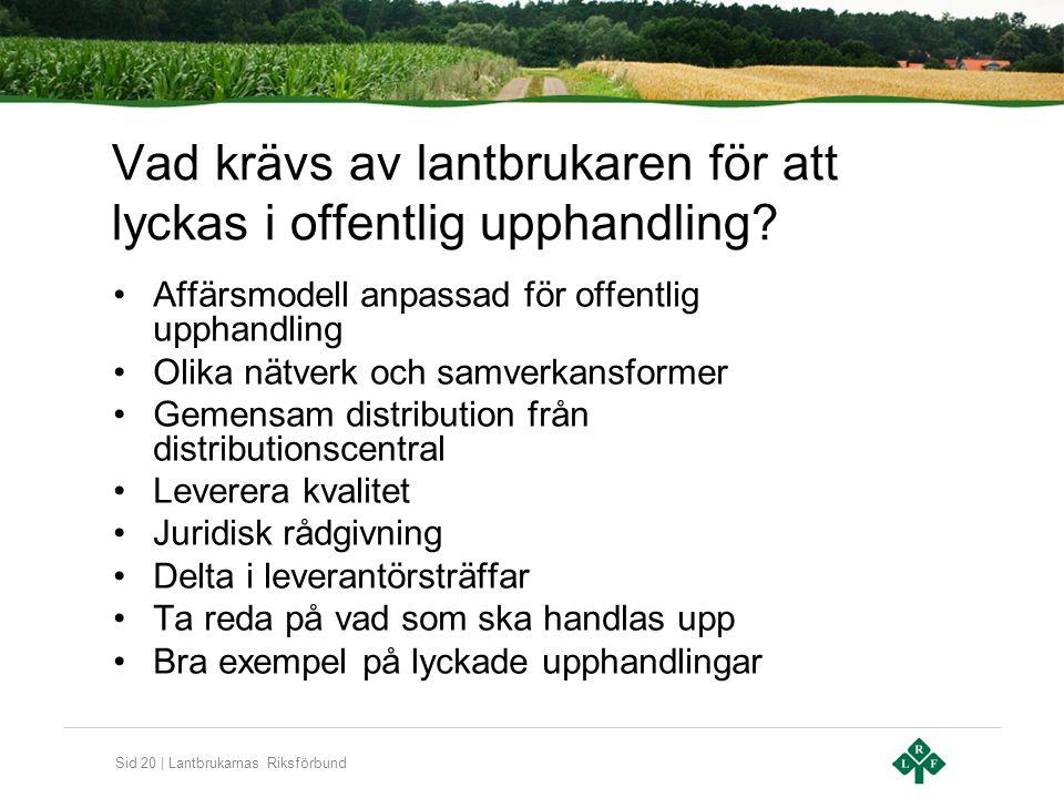 Sid 20 | Lantbrukarnas Riksförbund Vad krävs av lantbrukaren för att lyckas i offentlig upphandling? Affärsmodell anpassad för offentlig upphandling O