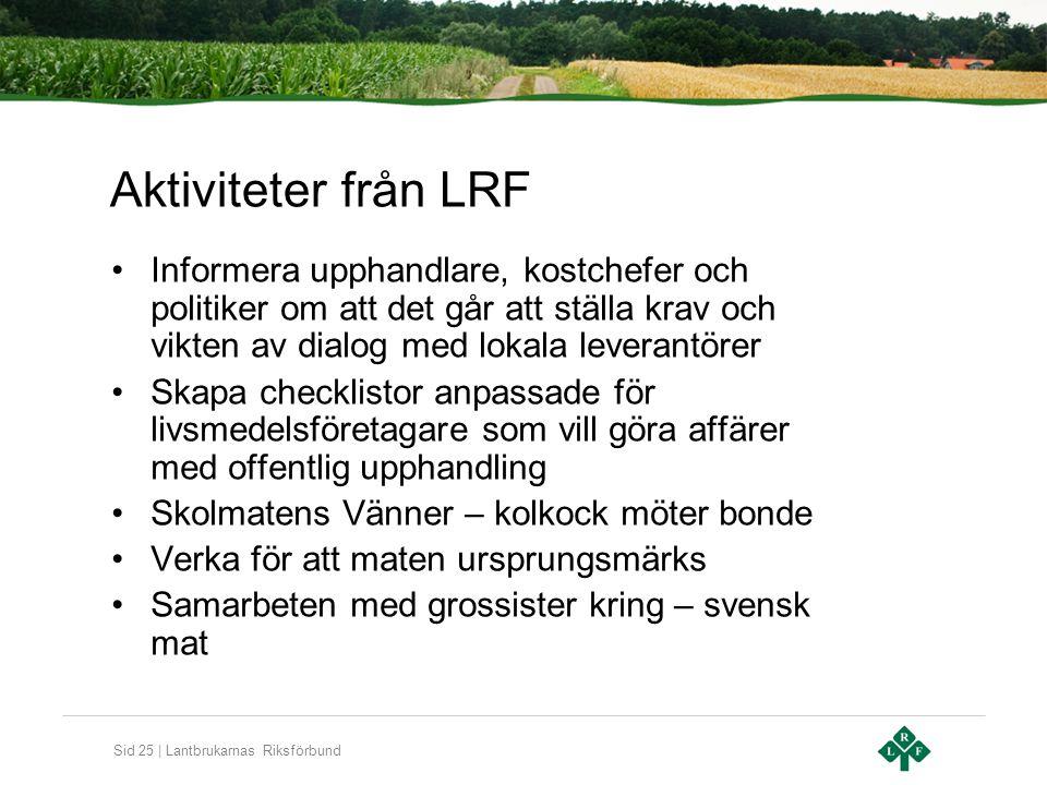 Sid 25 | Lantbrukarnas Riksförbund Aktiviteter från LRF Informera upphandlare, kostchefer och politiker om att det går att ställa krav och vikten av d