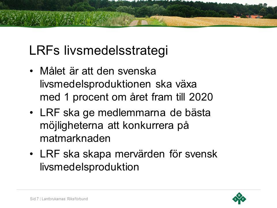 Sid 7 | Lantbrukarnas Riksförbund LRFs livsmedelsstrategi Målet är att den svenska livsmedelsproduktionen ska växa med 1 procent om året fram till 202