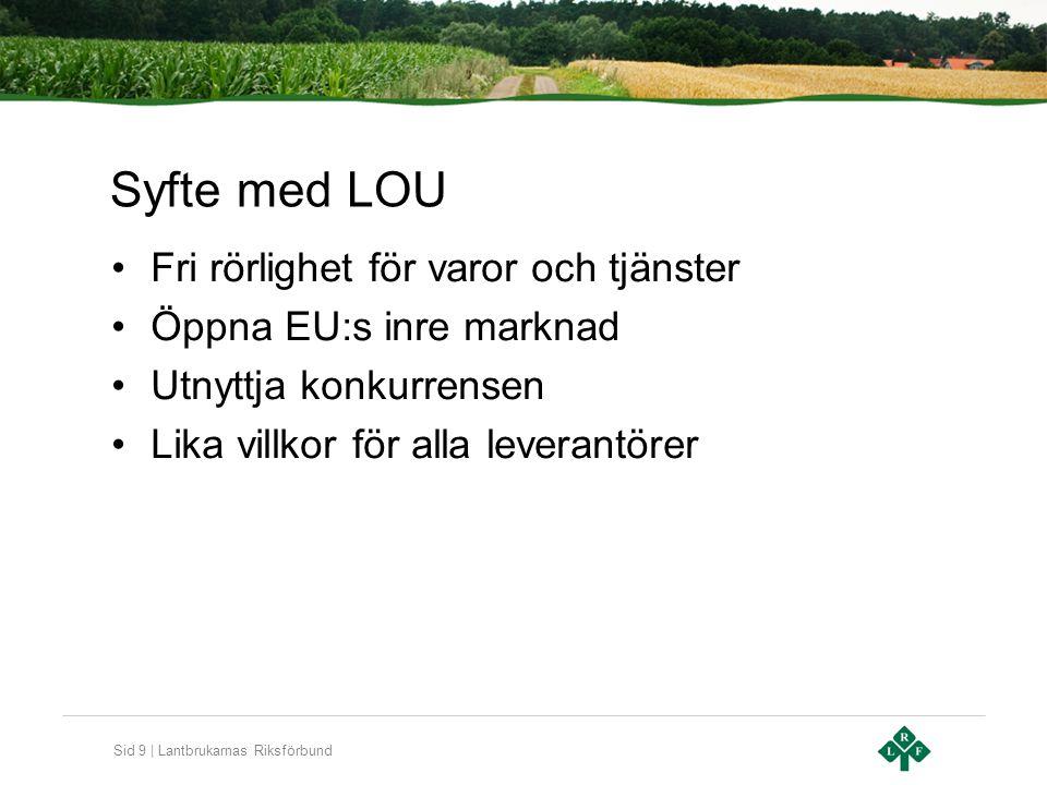 Sid 9 | Lantbrukarnas Riksförbund Syfte med LOU Fri rörlighet för varor och tjänster Öppna EU:s inre marknad Utnyttja konkurrensen Lika villkor för al