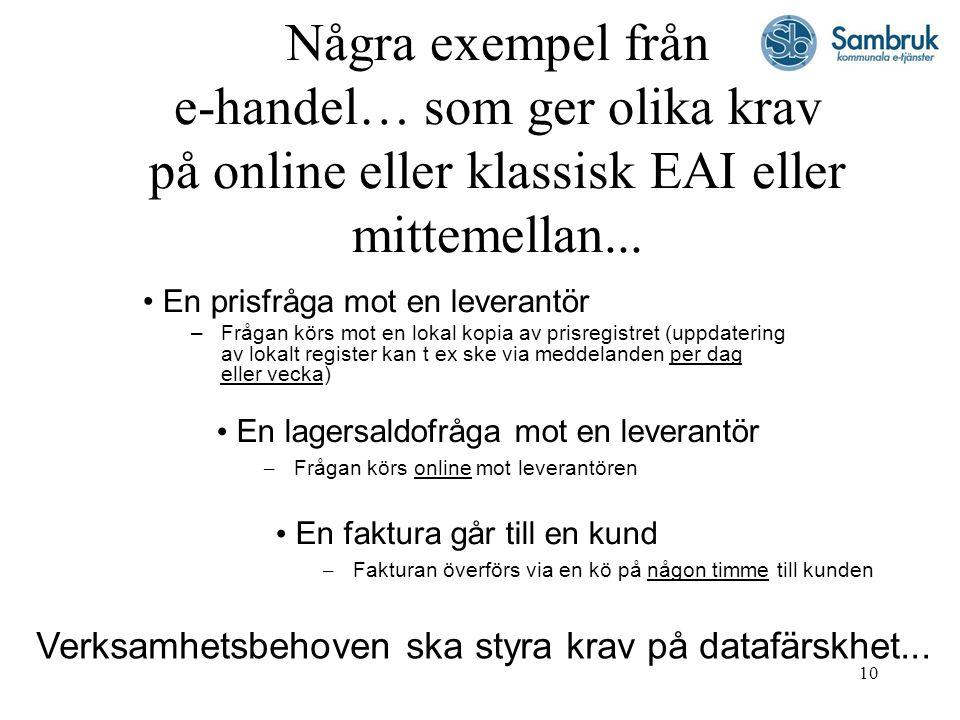 10 Några exempel från e-handel… som ger olika krav på online eller klassisk EAI eller mittemellan...