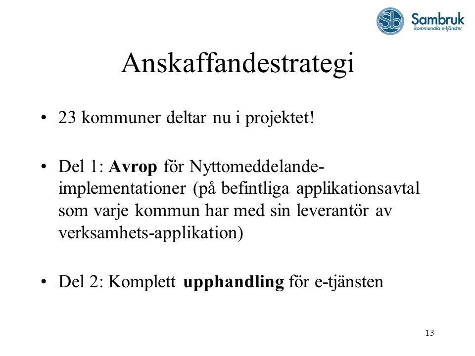 13 Anskaffandestrategi 23 kommuner deltar nu i projektet! Del 1: Avrop för Nyttomeddelande- implementationer (på befintliga applikationsavtal som varj