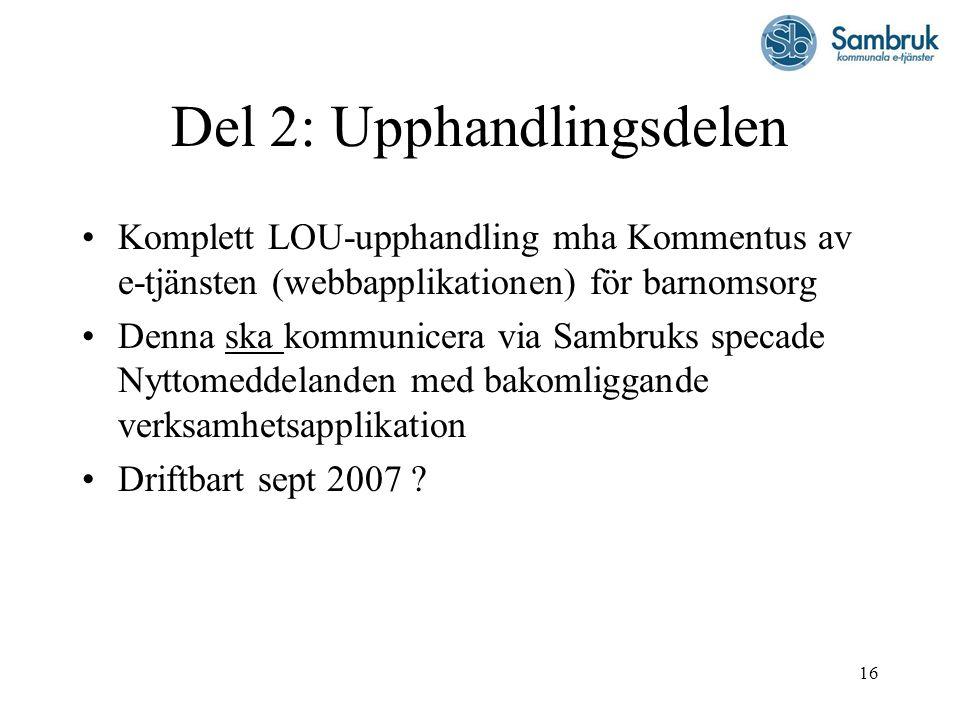 16 Del 2: Upphandlingsdelen Komplett LOU-upphandling mha Kommentus av e-tjänsten (webbapplikationen) för barnomsorg Denna ska kommunicera via Sambruks