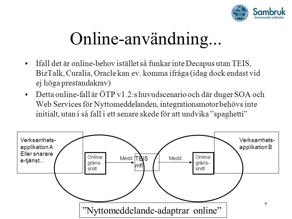 7 Online-användning... Ifall det är online-behov istället så funkar inte Decapus utan TEIS, BizTalk, Curalia, Oracle kan ev. komma ifråga (idag dock e