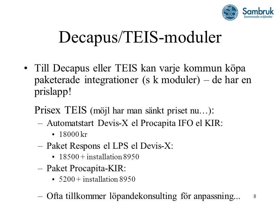 8 Decapus/TEIS-moduler Till Decapus eller TEIS kan varje kommun köpa paketerade integrationer (s k moduler) – de har en prislapp! Prisex TEIS (möjl ha