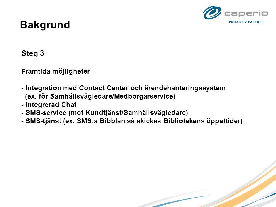 Bakgrund Steg 3 Framtida möjligheter - Integration med Contact Center och ärendehanteringssystem (ex. för Samhällsvägledare/Medborgarservice) - Integr