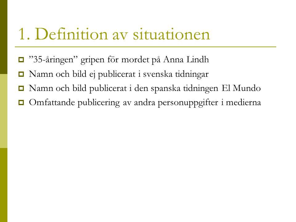 """1. Definition av situationen  """"35-åringen"""" gripen för mordet på Anna Lindh  Namn och bild ej publicerat i svenska tidningar  Namn och bild publicer"""