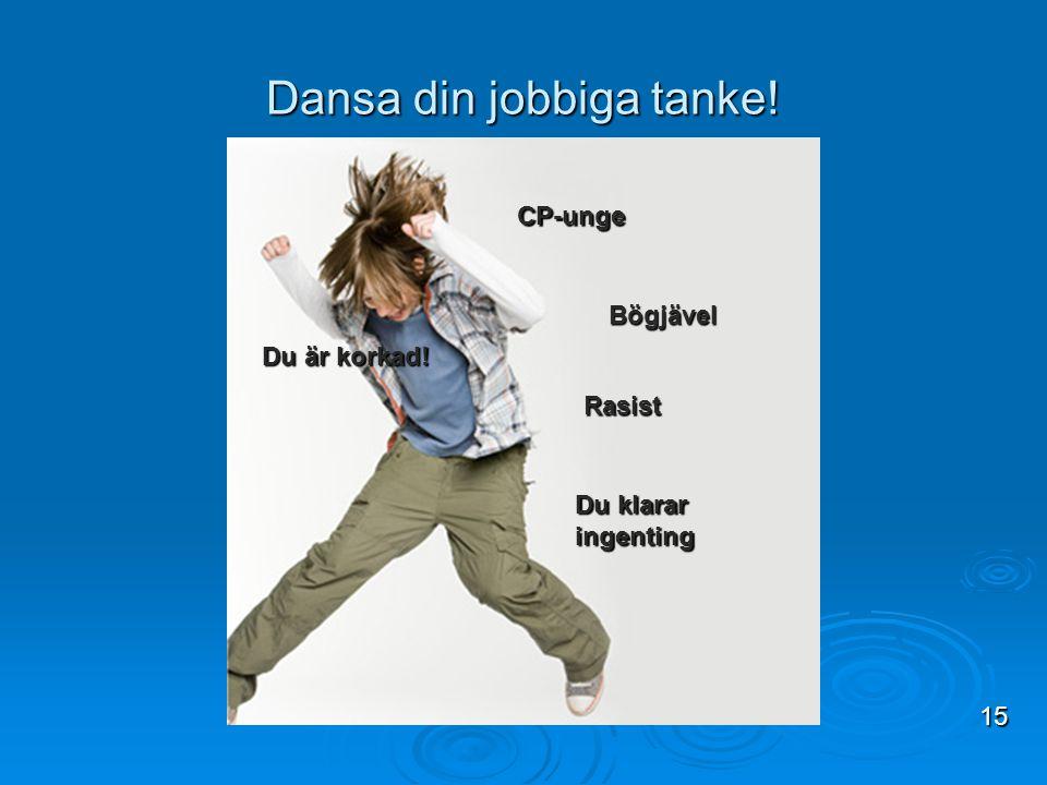 Dansa din jobbiga tanke! 15 Du är korkad! Du klarar ingenting Rasist Bögjävel CP-unge