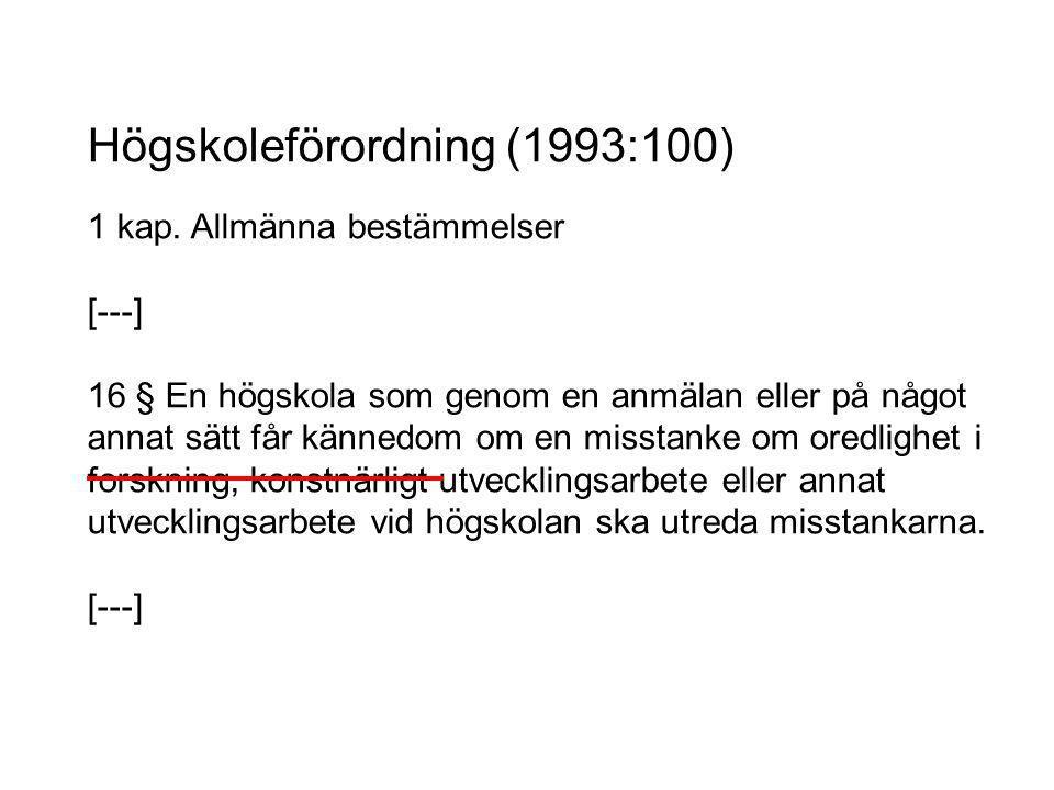 Högskoleförordning (1993:100) 1 kap.