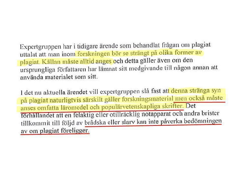 Anklagelsepunkter mot en professor misstänkt för plagiering: (Ur Lars Werkös sammanfattning av experten Martha J Garretts yttrande i VR:s utredning 2006; Läkartidningen 2006-10-25 nummer 43) dubbelpublikation av flera vetenskapliga artiklar, publicering av många liknande artiklar bestående av sammanhållna stycken från långa passager kopierade från hennes egna och andra forskares publicerade arbeten, undvikit referenser till parafraserade stycken, publicerat, som enda författare, en bok som är baserad på en tidigare publicerad volym tillsammans med tre andra författare, och en troligen olaglig reproduktion av en av hennes vetenskapliga artiklar i en bok under hennes författarskap.