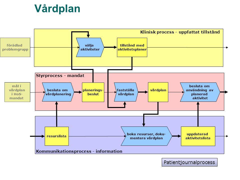 Vårdplan välja aktiviteter besluta om vårdplanering planerings- beslut Klinisk process - uppfattat tillstånd Styrprocess - mandat Kommunikationsproces