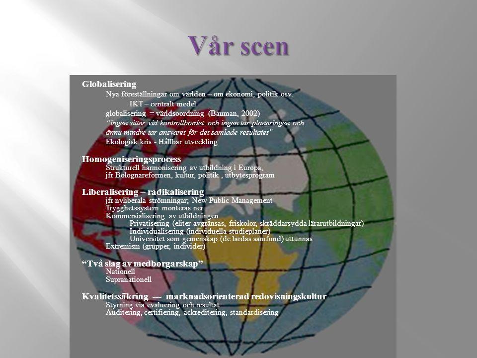 Globalisering Nya föreställningar om världen – om ekonomi, politik osv.