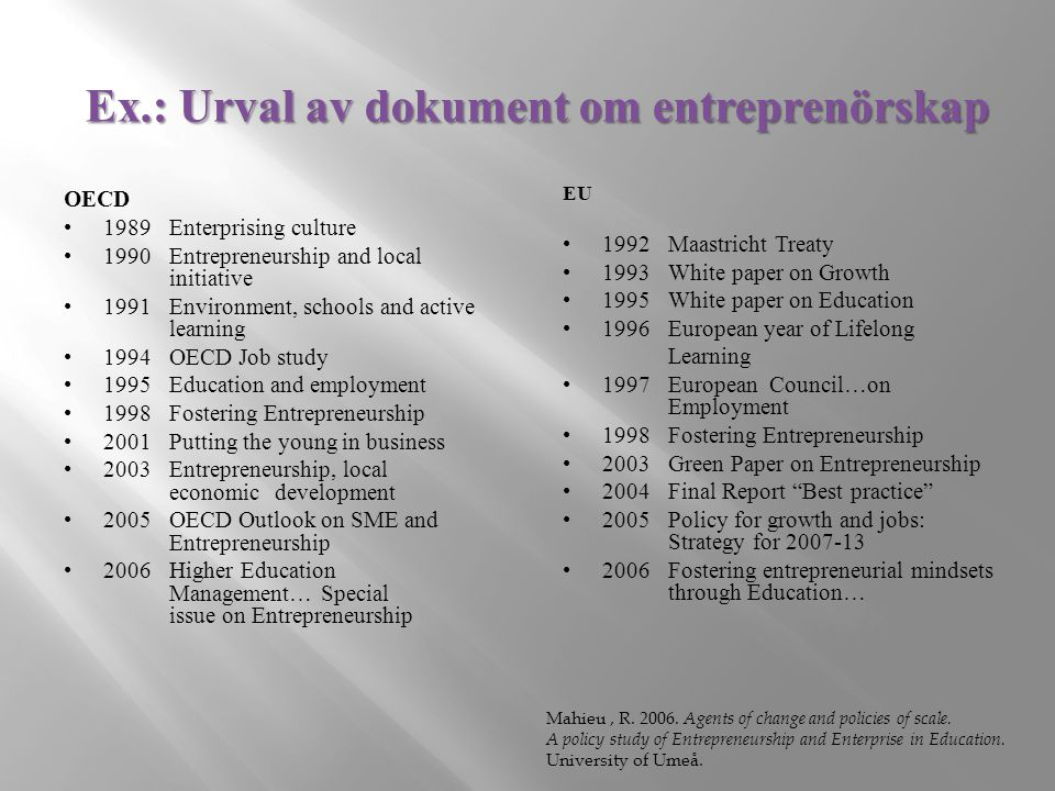 Ex.: Urval av dokument om entreprenörskap OECD 1989 Enterprising culture 1990 Entrepreneurship and local initiative 1991Environment, schools and active learning 1994 OECD Job study 1995 Education and employment 1998 Fostering Entrepreneurship 2001 Putting the young in business 2003 Entrepreneurship, local economic development 2005 OECD Outlook on SME and Entrepreneurship 2006 Higher Education Management… Special issue on Entrepreneurship EU 1992 Maastricht Treaty 1993 White paper on Growth 1995 White paper on Education 1996 European year of Lifelong Learning 1997 European Council…on Employment 1998 Fostering Entrepreneurship 2003 Green Paper on Entrepreneurship 2004 Final Report Best practice 2005 Policy for growth and jobs: Strategy for 2007-13 2006 Fostering entrepreneurial mindsets through Education… Mahieu, R.