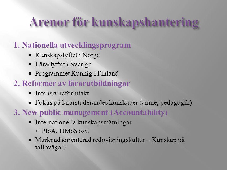 1. Nationella utvecklingsprogram  Kunskapslyftet i Norge  Lärarlyftet i Sverige  Programmet Kunnig i Finland 2. Reformer av lärarutbildningar  Int