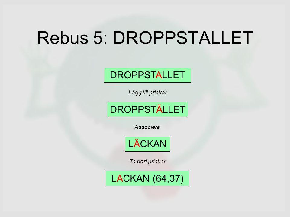Rebus 5: DROPPSTALLET DROPPSTALLET DROPPSTÄLLET LÄCKAN LACKAN (64,37) Lägg till prickar Associera Ta bort prickar