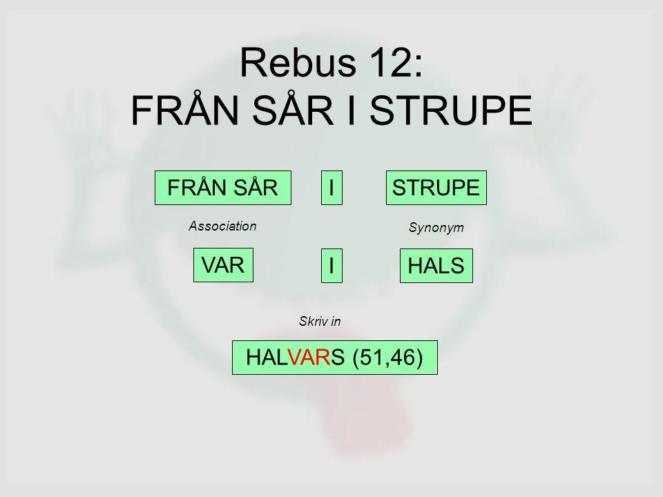Rebus 12: FRÅN SÅR I STRUPE FRÅN SÅRISTRUPE VAR HALS HALVARS (51,46) I Synonym Association Skriv in