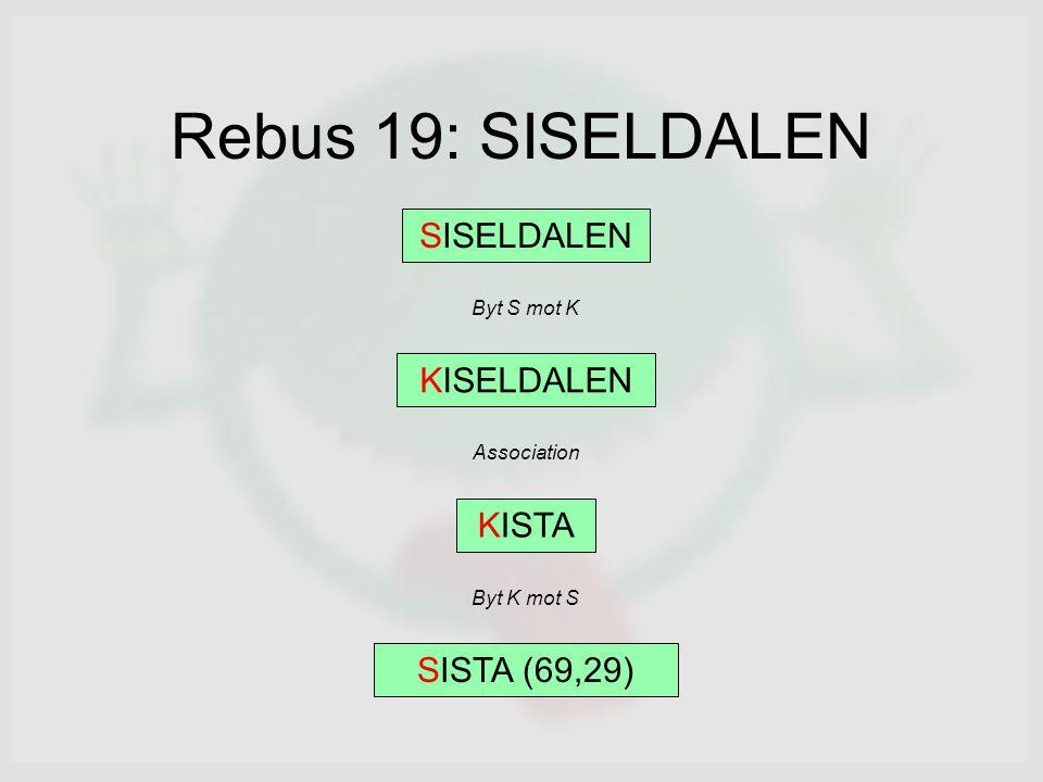 Rebus 19: SISELDALEN SISELDALEN Byt S mot K KISELDALEN Association KISTA Byt K mot S SISTA (69,29)