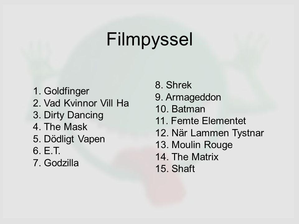 Filmpyssel 1. Goldfinger 2. Vad Kvinnor Vill Ha 3.