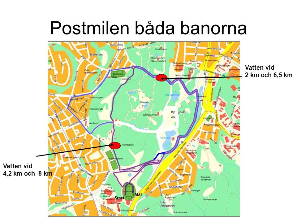 Postmilen båda banorna Vatten vid 2 km och 6,5 km Vatten vid 4,2 km och 8 km