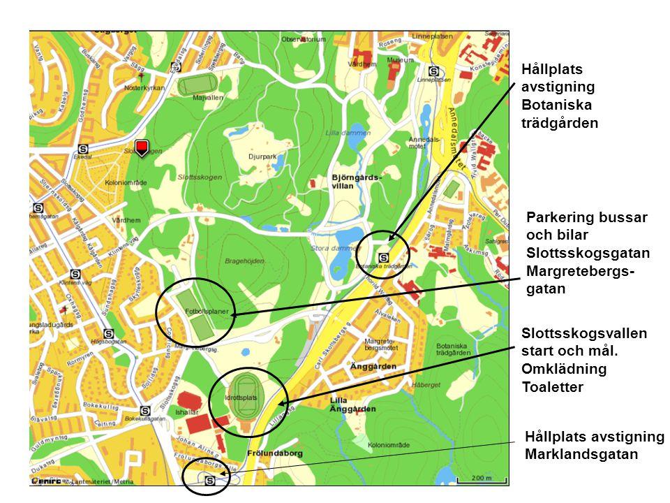 Hållplats avstigning Botaniska trädgården Slottsskogsvallen start och mål. Omklädning Toaletter Parkering bussar och bilar Slottsskogsgatan Margretebe