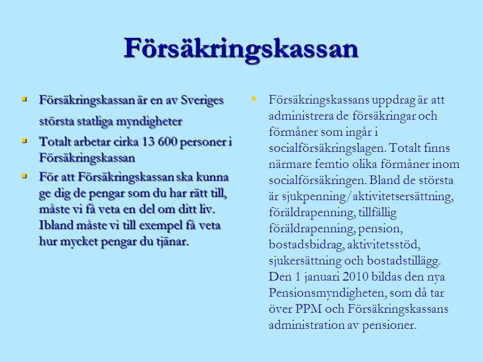 Försäkringskassan  Försäkringskassan är en av Sveriges största statliga myndigheter  Totalt arbetar cirka 13 600 personer i Försäkringskassan  För