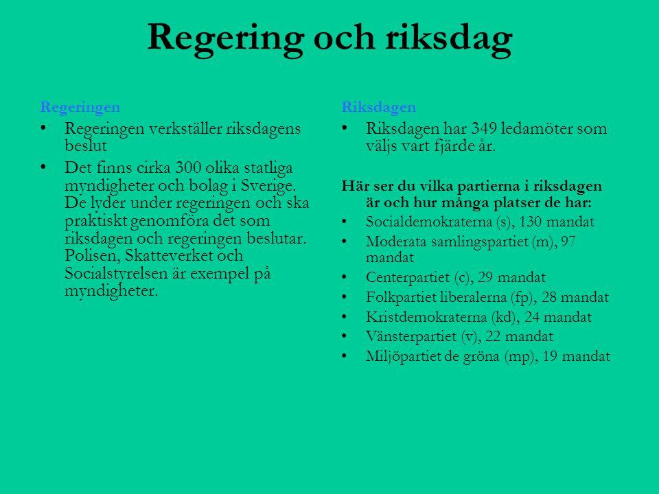 Regering och riksdag Regeringen Regeringen verkställer riksdagens beslut Det finns cirka 300 olika statliga myndigheter och bolag i Sverige. De lyder