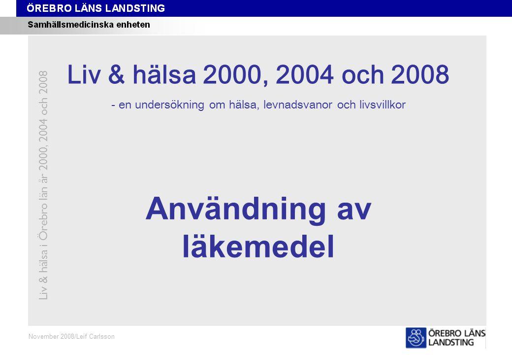 Fråga 11J, ålder och kön Fråga 11J Oktober 2008/Leif Carlsson Procent Andel som använt lugnande medel de senaste två veckorna (receptbelagt läkemedel) Liv & hälsa i Örebro län år 2000, 2004 och 2008 Åldersstandardiserade data.