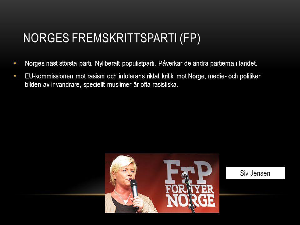 NORGES FREMSKRITTSPARTI (FP) Norges näst största parti. Nyliberalt populistparti. Påverkar de andra partierna i landet. EU-kommissionen mot rasism och