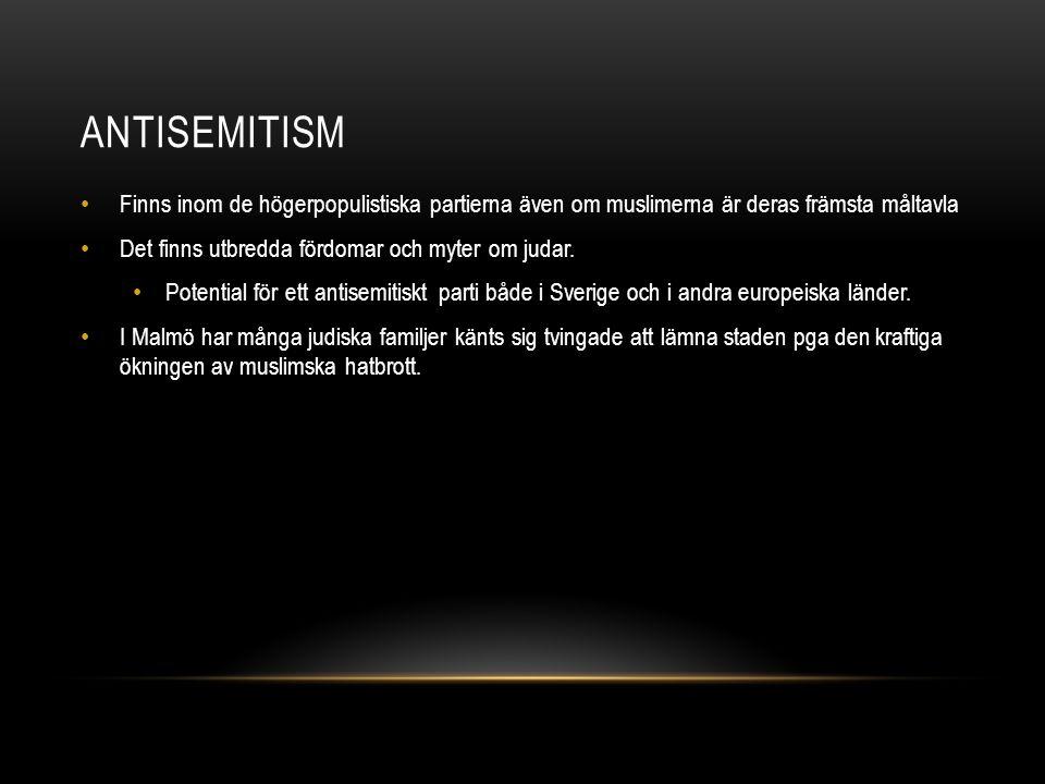 ANTISEMITISM Finns inom de högerpopulistiska partierna även om muslimerna är deras främsta måltavla Det finns utbredda fördomar och myter om judar. Po