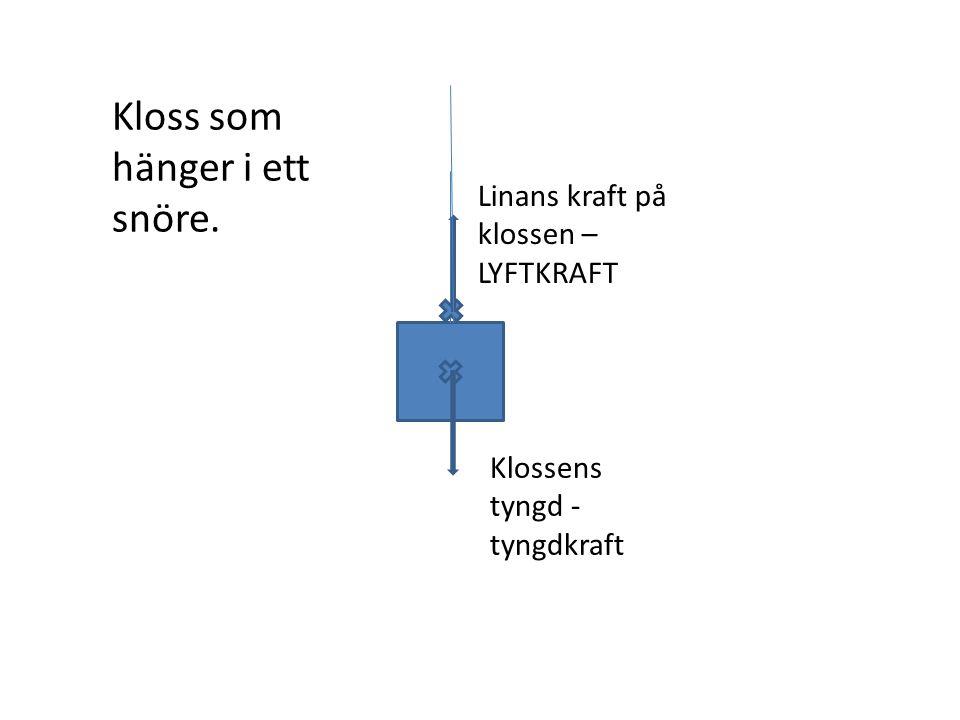 Kloss som hänger i ett snöre. Linans kraft på klossen – LYFTKRAFT Klossens tyngd - tyngdkraft