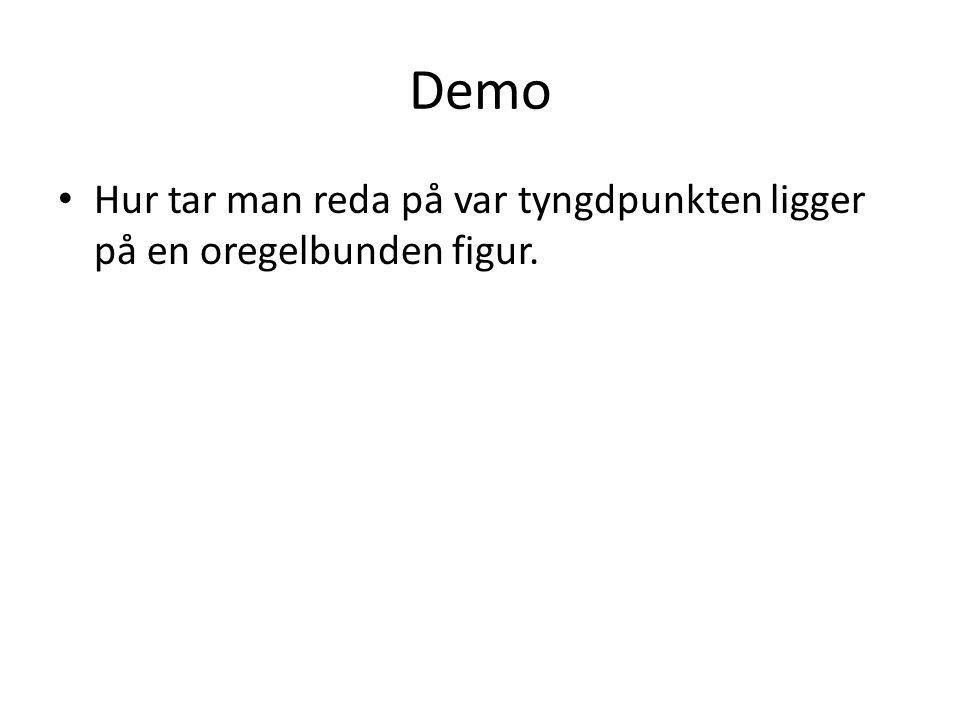 Demo Hur tar man reda på var tyngdpunkten ligger på en oregelbunden figur.