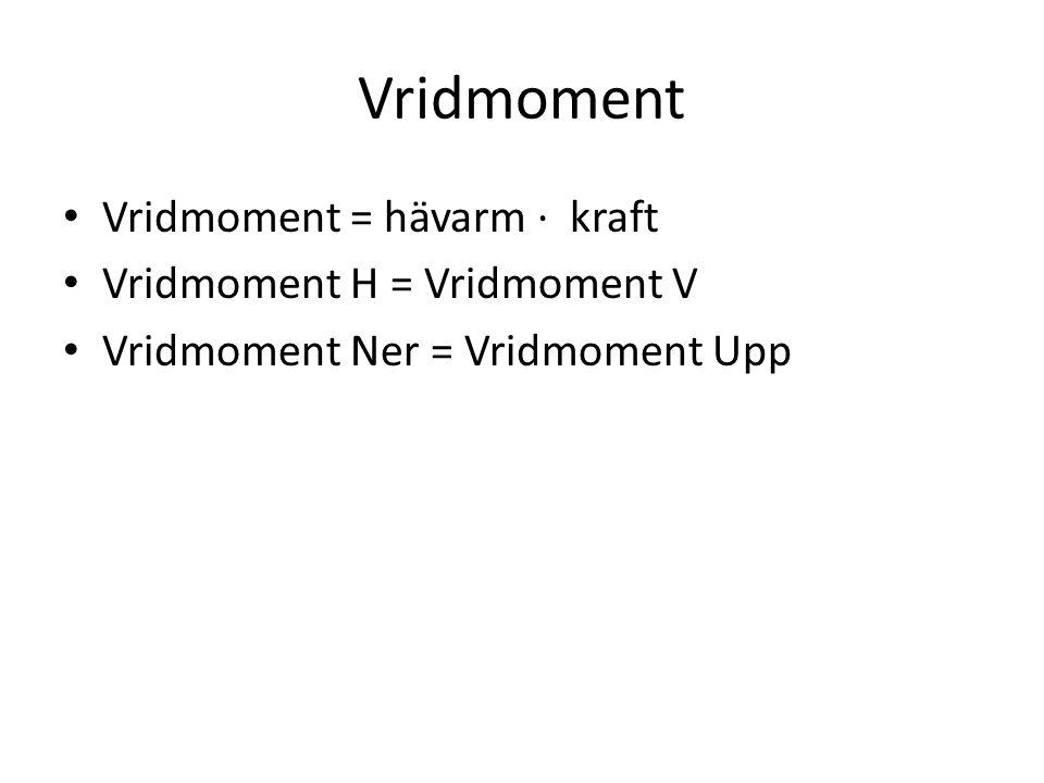 Vridmoment Vridmoment = hävarm · kraft Vridmoment H = Vridmoment V Vridmoment Ner = Vridmoment Upp