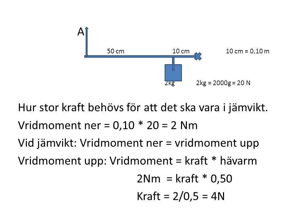 A 50 cm 10 cm10 cm = 0,10 m 2kg2kg = 2000g = 20 N Hur stor kraft behövs för att det ska vara i jämvikt. Vridmoment ner = 0,10 * 20 = 2 Nm Vid jämvikt: