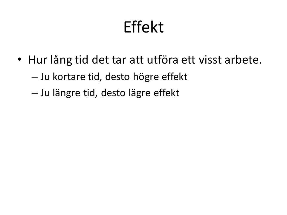 Effekt Hur lång tid det tar att utföra ett visst arbete. – Ju kortare tid, desto högre effekt – Ju längre tid, desto lägre effekt