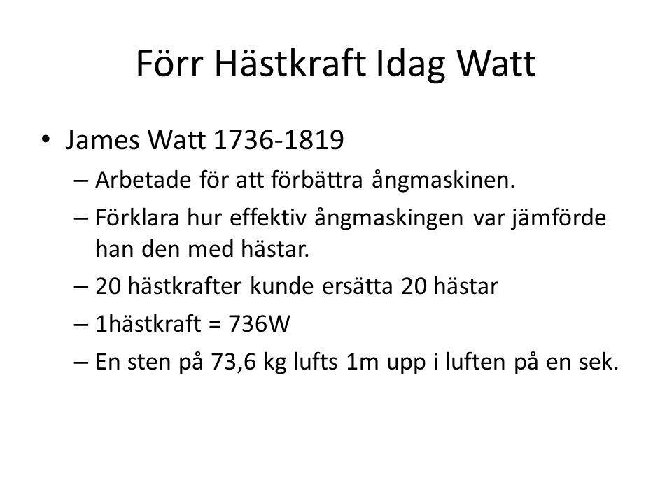 Förr Hästkraft Idag Watt James Watt 1736-1819 – Arbetade för att förbättra ångmaskinen. – Förklara hur effektiv ångmaskingen var jämförde han den med