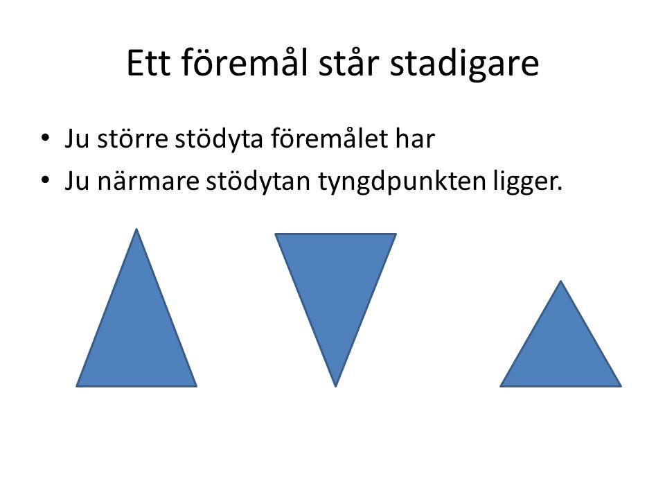 Var händer om tyngdpunkten hamnar utanför stödytan? x x x