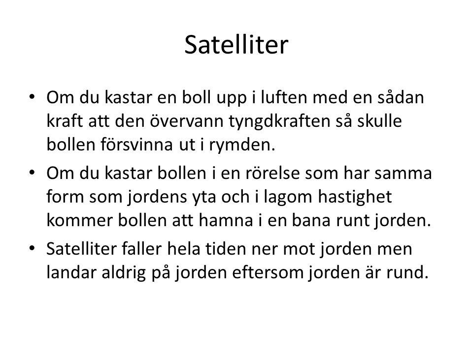 Satelliter Om du kastar en boll upp i luften med en sådan kraft att den övervann tyngdkraften så skulle bollen försvinna ut i rymden. Om du kastar bol