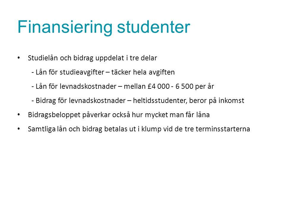 Finansiering studenter Studielån och bidrag uppdelat i tre delar - Lån för studieavgifter – täcker hela avgiften - Lån för levnadskostnader – mellan £