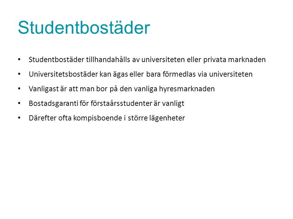 Studentbostäder Studentbostäder tillhandahålls av universiteten eller privata marknaden Universitetsbostäder kan ägas eller bara förmedlas via univers