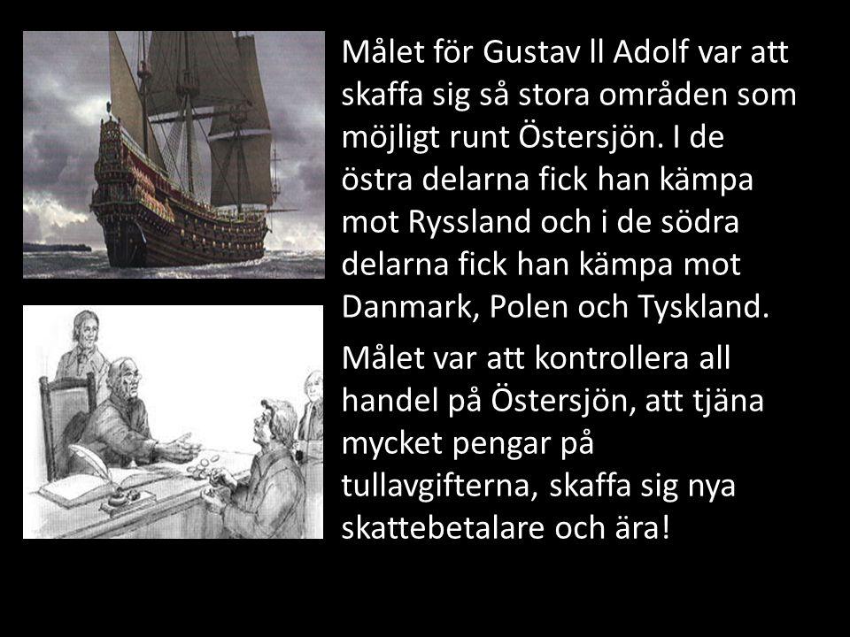 Målet för Gustav ll Adolf var att skaffa sig så stora områden som möjligt runt Östersjön. I de östra delarna fick han kämpa mot Ryssland och i de södr
