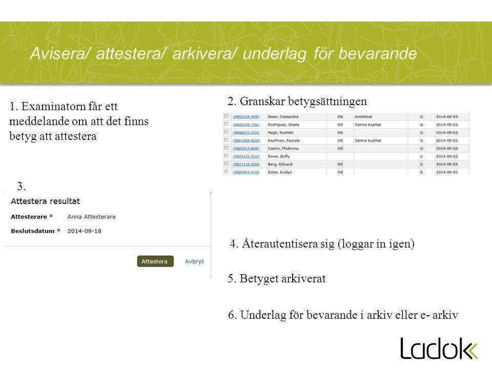 Avisera/ attestera/ arkivera/ underlag för bevarande 2.
