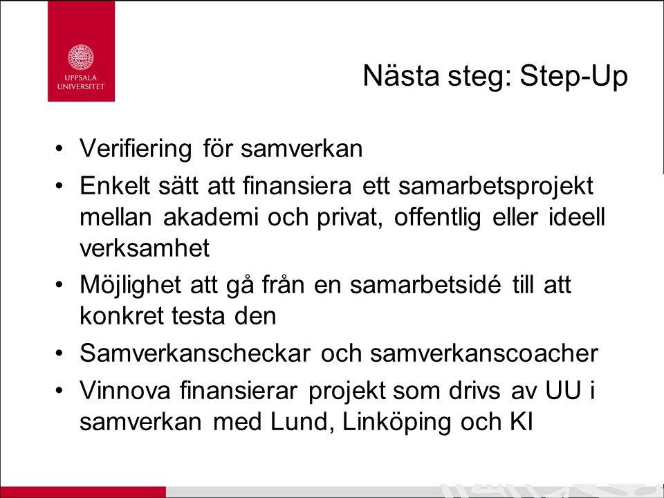Nästa steg: Step-Up Verifiering för samverkan Enkelt sätt att finansiera ett samarbetsprojekt mellan akademi och privat, offentlig eller ideell verksa