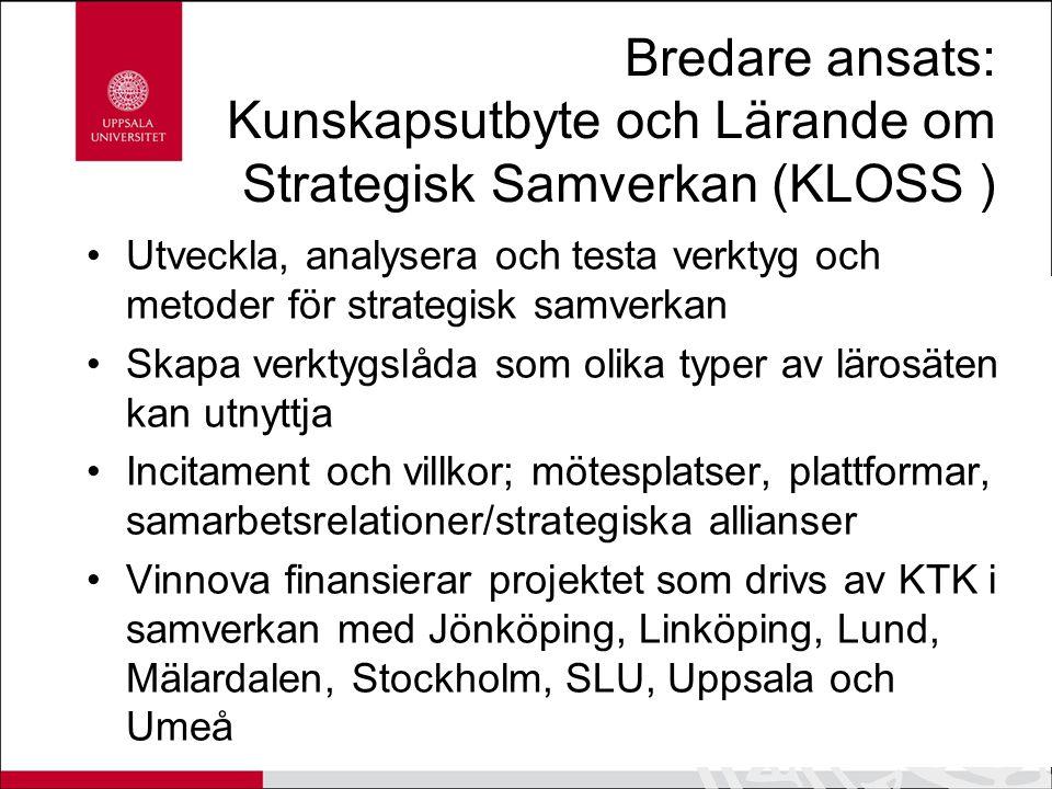 Bredare ansats: Kunskapsutbyte och Lärande om Strategisk Samverkan (KLOSS ) Utveckla, analysera och testa verktyg och metoder för strategisk samverkan