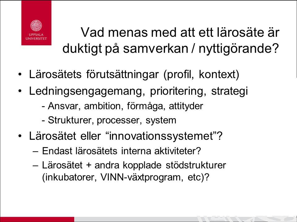 Nästa steg: Step-Up Verifiering för samverkan Enkelt sätt att finansiera ett samarbetsprojekt mellan akademi och privat, offentlig eller ideell verksamhet Möjlighet att gå från en samarbetsidé till att konkret testa den Samverkanscheckar och samverkanscoacher Vinnova finansierar projekt som drivs av UU i samverkan med Lund, Linköping och KI