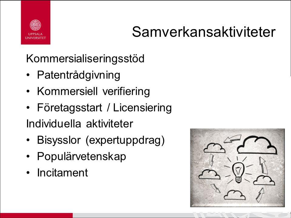 Samverkansaktiviteter Kommersialiseringsstöd Patentrådgivning Kommersiell verifiering Företagsstart / Licensiering Individuella aktiviteter Bisysslor (expertuppdrag) Populärvetenskap Incitament